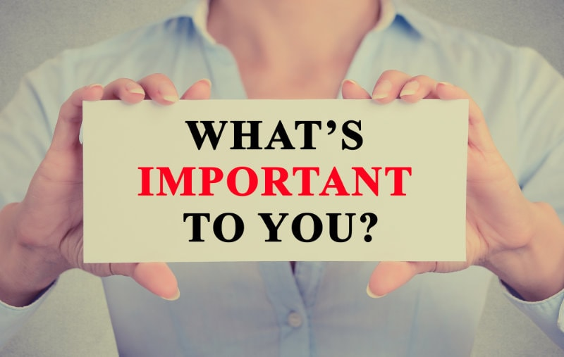 Businesswoman hands holding sign with What is important to you ?