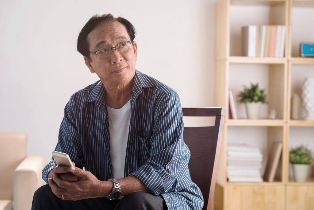 Old man with phone